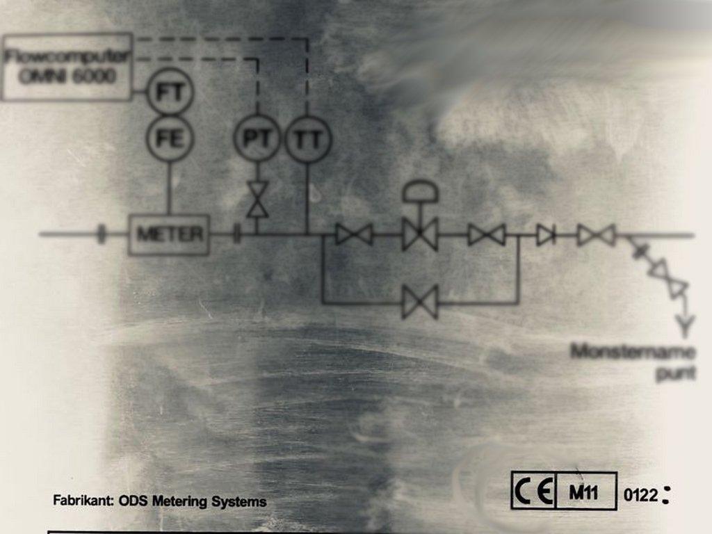 Een MID Type plaat, bevestigd aan de installatie, met omschrijving, schematische weergave, CE-merk en Metrologie merk met jaartal en Notfied Body nummer.