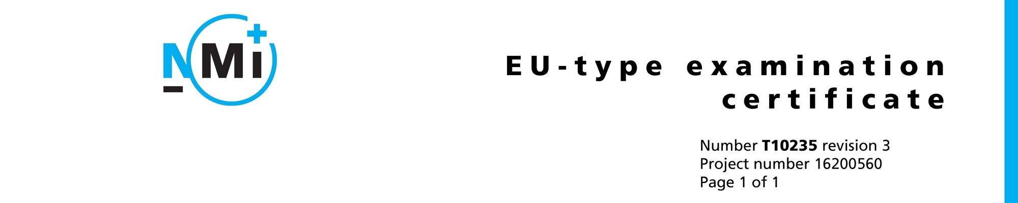 Een MID EU Type Examination Certificate voor een meetinstallatie voor handelsdoeleinden.
