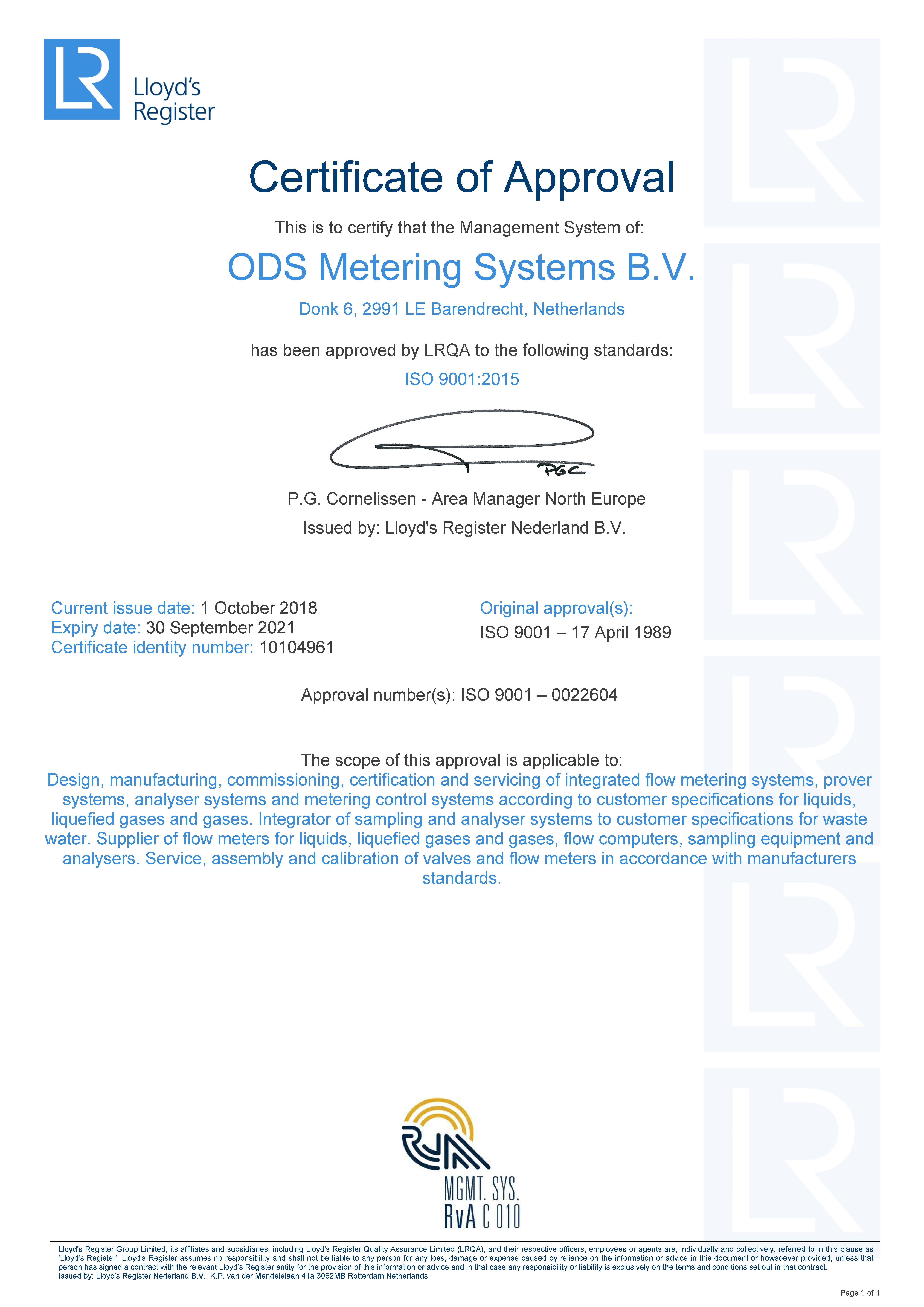ODS Metering Systems ISO 9001 certificate